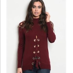 NWT Maroon Lace Up Turtleneck Sweater